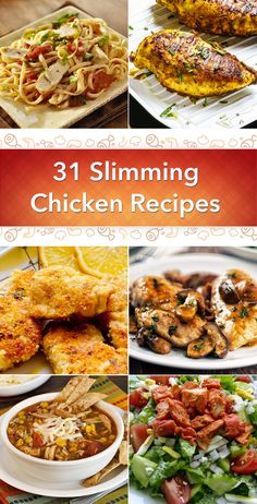 Get the Skinny! 31 Slimming Chicken Recipes including Balsamic, Garlic, Enchiladas, Teriyaki, Marsala, Tortilla Soup, Fajitas, Parmesan, Lemon, Buffalo, Sweet and Sour, Pot Pie, and more!