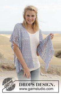 """La Mer - Crochet DROPS shawl with fans in """"BabyAlpaca Silk"""". - Free pattern by DROPS Design"""