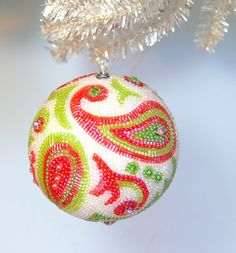 Christmas Ornament Christmas Ball Beaded Paisley by MeredithDada