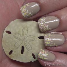 Sand dollar and sea shell nail art- I LOVE the hidden little sand dollar on her middle nail!!!
