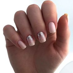 + Ideas of Sweet Nude Nails With Glitter That Every Girl Will Love Square Nail Designs, Long Nail Designs, Colorful Nail Designs, Gel Nail Designs, Nude Nails With Glitter, Red Nails, Hair And Nails, Gold Glitter, Dot Nail Art