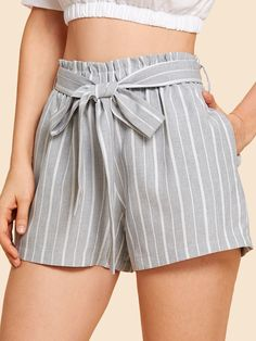 Self Belted Striped Shorts -SheIn(Sheinside) shorts shorts shorts shorts outfits shortsYou can . Tie Shorts, Flowy Shorts, Belted Shorts, Striped Shorts, Striped Outfits, Sequin Shorts, Cute Summer Outfits, Short Outfits, Girl Outfits