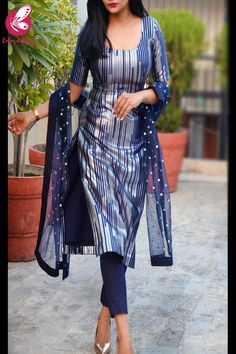 Shop Navy Blue and Silver Padded Pure Crepe Kurti with Blue Cotton Silk Pants and Blue Net Mirror Work Net Stole - Kurti Sets Online in India Kurta Designs Women, Kurti Neck Designs, Salwar Designs, Blouse Designs, Designer Party Wear Dresses, Kurti Designs Party Wear, Indian Dresses For Women, Indian Outfits, Designs For Dresses