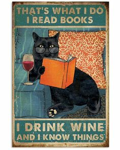 Crazy Cat Lady, Crazy Cats, I Love Books, Books To Read, Wein Poster, Cat Posters, Cat Wall, Wine Drinks, Matilda
