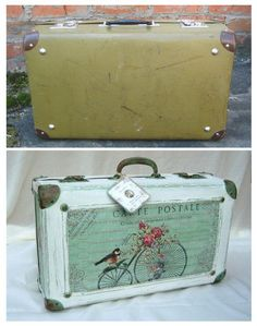 Vintage Suitcase Refashion Was ist der beste Koffer? Vintage Suitcase Decor, Decoupage Suitcase, Painted Suitcase, Suitcase Table, Vintage Trunks, Decoupage Furniture, Vintage Suitcases, Vintage Luggage, Cute Suitcases