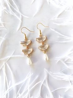 The V Collection earrings yellow gold plated smoky and pearl round dangling earrings for women and girls