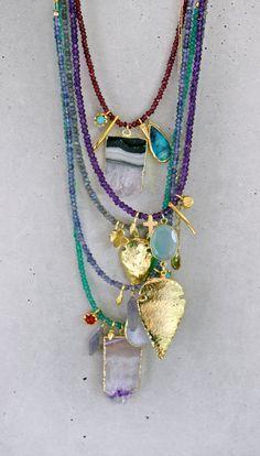 Emerald Green Onyx Charmed Necklace por keijewelry en Etsy