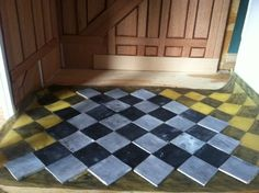 DIY dollhouse faux-marble tile floor from painted wood tiles | Source: The Mini Gentleman's Guide To Decoration