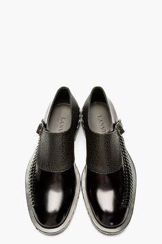 LANVIN Back Monk Strap Woven Accent Shoes