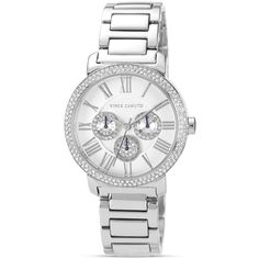 Vince Camuto Silver Tone Chronograph Watch, 42mm