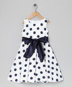 Look at this #zulilyfind! Black & White Polka Dot Bow Dress - Infant, Toddler & Girls by Kid Fashion #zulilyfinds
