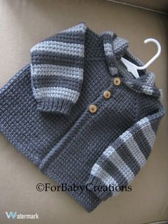 Items similar to Crochet Baby Boy or Girl Sweater with Hood – Dark Grey and Light Grey – MADE TO ORDER – Tunisian Crochet – Handmade on Etsy Chrochet Baby Boy Sweater with Hood Dark Grey by ForBabyCreations, Cardigan Bebe, Crochet Baby Cardigan, Crochet Jacket, Crochet Hoodie, Knitting Patterns Boys, Baby Patterns, Baby Knitting, Crochet Patterns, Free Knitting