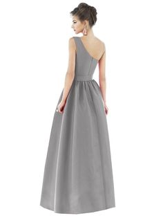 Crisp Dupioni spans the A-line silhouette of Dessy Alfred Sung D529 bridesmaid dress, decked with an asymmetrical neckline leading into the ruched strap. A matching belt cinches the natural waist, where the fully shirred skirt takes off as it cascades gracefully toward the floor. Pockets are sewn into the side seams.