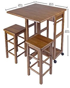 AmazonSmile: Winsome Space Saver with 2 Stools, Square: Kitchen & Dining