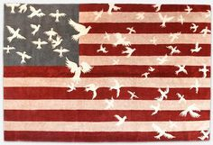 """The London-based rug designer was inspired by """"a dream in which the stars of the American flag were transformed into white doves of peace"""""""