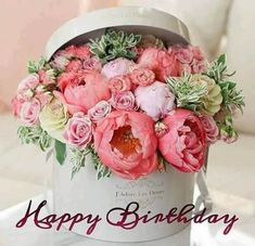 17 New Ideas For Flowers Boquette Gift Floral Arrangements Roses Happy Birthday Flowers Wishes, Birthday Wishes Cake, Birthday Wishes Quotes, Happy Birthday Pictures, Happy Birthday Messages, Happy Birthday Greetings, Gift Bouquet, Bouquet Wedding, Wedding Flowers