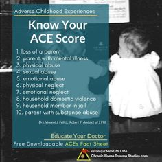Know your ACE score. Learn about the links between chronic illness and adverse childhood experiences, about others championing ACEs including Oprah and Dr. Nadine Burke Harris and gain new tools for treatment of Chronic Fatigue Syndrome Diet, Chronic Fatigue Symptoms, Asthma Symptoms, Chronic Illness, Chronic Pain, Fibromyalgia, Emotional Abuse, Psicologia