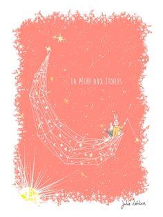 Arts Graphiques | Julie Zeitline | La pêche aux étoiles - orange | Tirage d'art en série limitée sur L'oeil ouvert