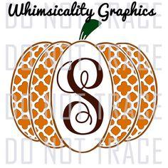 Digital File - Quatrefoil Pattern Pumpkin For Monogram with SVG, DXF, PNG Commercial & Personal Use