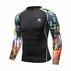 de1923b59 Mens Compression Long sleeve Breathable Quick Dry T Shirts Bodybuilding  Weight lifting Base Layer Fitness Tight Tops T-shirt