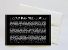 """""""I Read Banned Books"""" Blank Greeting Card with Envelope by psychedelictara - Here's a cheeky Greeting Card with a handy """"must-read"""" checklist of books that authorities, over the years, have deemed unfit for the masses!  So, read up, people!  Heh heh!"""