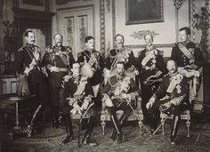 TOP ROW:  King Haakon VII-Norway, King Ferdinand – Bulgaria, King Manuel II -Portugal, William II – Germany, King George I – Greece, King Albert I – Belgium;   SECOND ROW:  King Alfonso XIII – Spain, King George V-Britain, King Frederick VII – Denmark