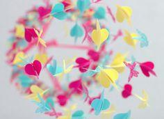 Aqua Pink & Yellow Birds and Butterflies by LovebugLullabies