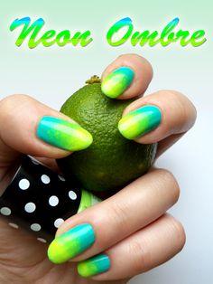 Neon Ombre Manicure by Ewa&Ja