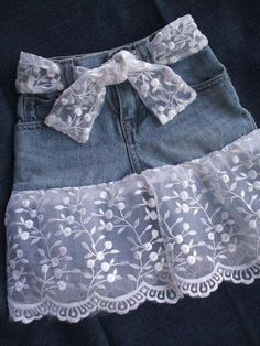 Blue jean lacy skirt