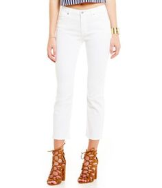 7 For All Mankind Kimmie Crop White Jeans #Dillards