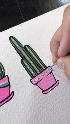 Gouache is so fun and beautiful. It's not acrylic or watercolor, but have similar characteristics. It's as opaque as acrylic and is used by activating the gouache with water. Try creating a cactus or plant by using Gouache paint. For more videos, see by A Painting Videos, Painting Tips, Gouache Painting, Painting & Drawing, Kaktus Illustration, Cactus Painting, Cactus Drawing, Pink Painting, Acrylic Art