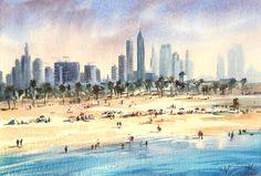 """""""Beach in Dubai"""" watercolour by Trevor Waugh"""