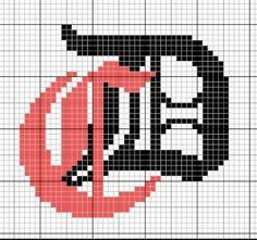alphabet - broderie - cross stitch  - Initiales : CD - Point de croix - Blog : http://broderiemimie44.canalblog.com/