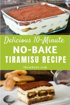 Tiramisu Recipe 10 Minute No Bake Treat This Tiramisu Recipe has been a huge smash and it's no bake and easy to make. We have a quick video tutorial to show you how. No Bake Tiramisu Recipe, Classic Tiramisu Recipe, Tiramisu Cake, Healthy Tiramisu Recipe, Baking Recipes, Cake Recipes, Dessert Recipes, Easy No Bake Recipes, Quick Dessert