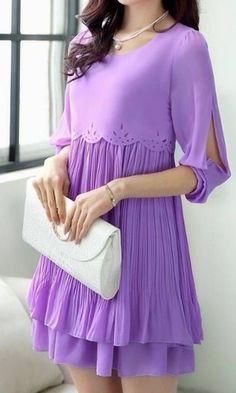 Sweet Elegant Purple Pleated Dress – Dress Me Good