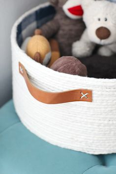 IHeart Organizing: DIY Lined Rope Basket with Handles                                                                                                                                                                                 More