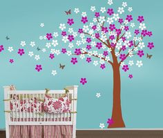 Kids wall decal wall stickers Cherry Blossom Tree baby nursery floral room decor pink girl wall decor wall art