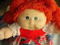 Vintage 83 Cabbage Patch Kid Girl Doll Red Hair Ponies Green Eyes #3 Head KT