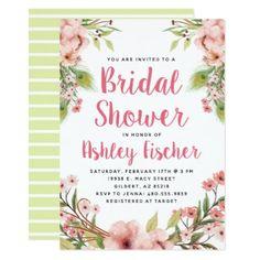 #Boho Floral Bridal Shower Invitation - #invitations #wedding #bridalshower #beautiful #bride