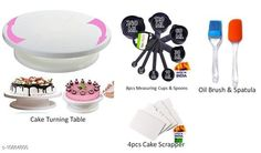 Dinnerware & Serving Pieces 8 PCS of Measuring Cup & Spoon, 1 PCS of Spatula, 4 PCS of Scraper, 1 PCS of Cake Tables, 1 PCS of Brush Material: Plastic Pack: Pack of 1 No. of Measuring Cups: 4 No. of Measuring Spoons: 4 Length: 10 cm Breadth: 11 cm Height: 1.5 cm Size (in ltrs): 4.5 ml Country of Origin: India Sizes Available: Free Size   Catalog Rating: ★4.3 (901)  Catalog Name: Unique Measuring Cups CatalogID_2005360 C136-SC1602 Code: 196-10864800-7281