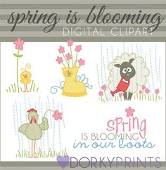 Blooming in Our Boots Spring Clipart - cute animals in the rain clipart and flower clipart