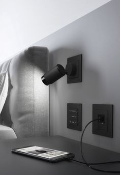 GIRA Plug & Light: Simply plug in and switch on - Points of contact Closet Lighting, Bedroom Lighting, Interior Lighting, Modern Lighting Design, Cool Lighting, Bed Lights, Wall Lights, Bedroom Reading Lights, Reading Light For Bed