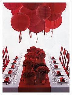 We love this red Valentine's Day table Decor