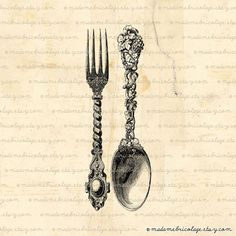 INSTANT DOWNLOAD Spoon and Fork, Cutlery Digital Download for Iron on Transfer, Papercrafts, Pillows, T-Shirts, Tote Bags, Burlap, No 00411