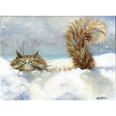 painting of a fluffy tabby cat frolicking in snow by Kim Haskins ($10) ❤ liked on Polyvore featuring home, home decor, christmas home decor, outside home decor and outdoor home decor
