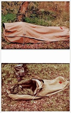 Adventurer canvas bedroll - shown fully closed & fully open: pull the hood up over your head and zip up to close.