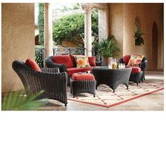 Martha Stewart Living Lake Adela Charcoal/Spice 6-Piece Patio Seating Set-0482100590 at The Home Depot