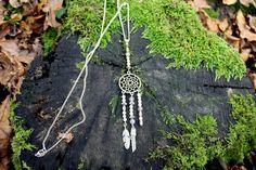 Sautoir Attrape rêve - Quartz rose, Agate, Quartz : Collier par perle-de-chamane