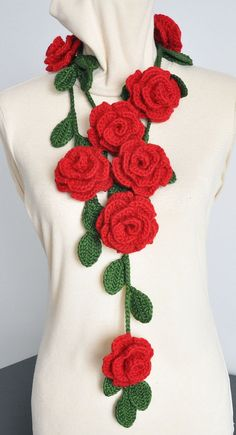 ROSA  Red Crochet Multicolor Roses Scarf/Lariat by jennysunny    http://www.etsy.com/treasury/MjAwOTQ5NDF8MjcyMzg2Njk2OA/alices-very-merry-unbirthday-party