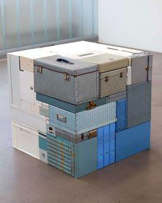 Michael Johansson blue vintage suitcases | http://www.yellowtrace.com.au/michael-johansson-installation-art/